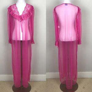 [Vintage] Dreamwear Lingerie Robe Pink Sheer Lace