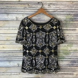 Virgos Lounge Black Silver Gold Sequin Scallop Top