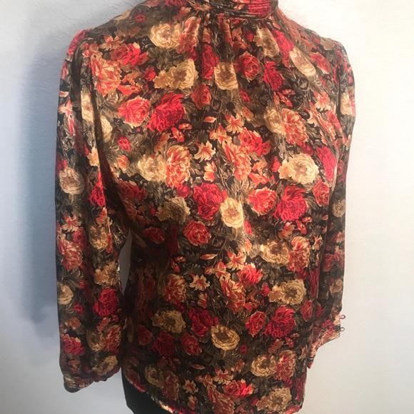 Vintage Tops - Vintage satin floral blouse top