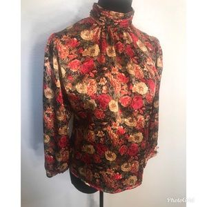 Vintage Tops - Vintage satin floral blouse top