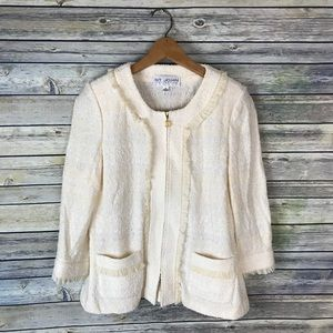 St. John Cream 3/4 Sleeve Tweed Zip Up Blazer