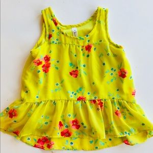 ~*Bright Yellow!*~ Chiffon Flower Top Small S 6 6x
