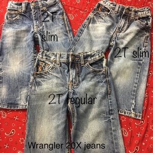 3 pair of wrangler 20x boys size 2t jeans