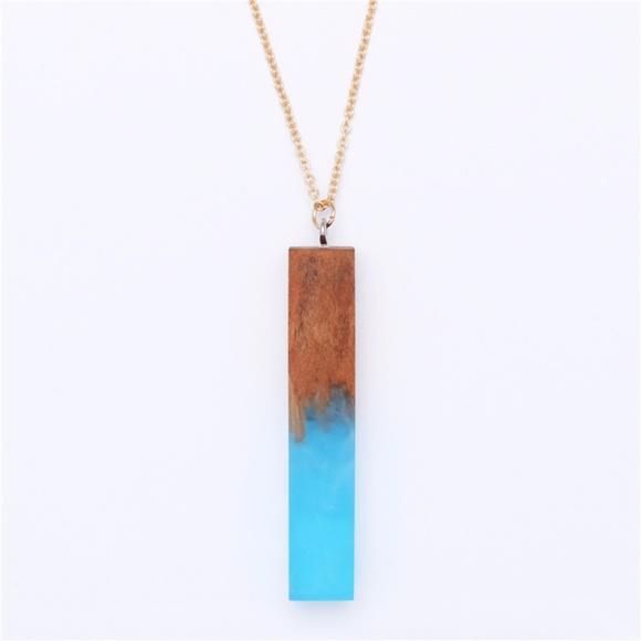 7519443cdbe28b NEW Handmade Wood Resin Pendant Necklace. M_5a0a0cc4c284567c34182895