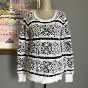 1 DAY SALE Black and White Fuzzy Sweater