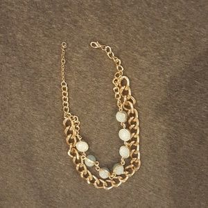 Blue bead and gold chain necklace