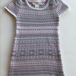 H&M Pink White Silver Gray Sweater Dress Small S