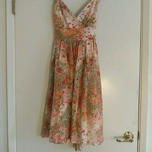 Floral silk garden party dress