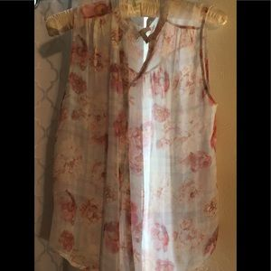 Joie Floral sleeveless blouse size small