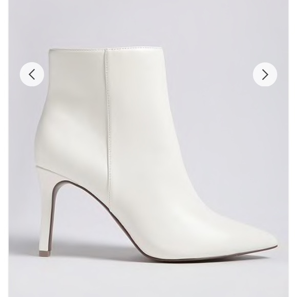Pointed Faux Leather Ankle Boots In
