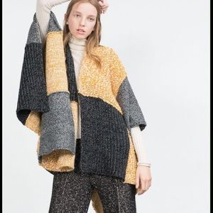 Zara patchwork knit oversized poncho size medium