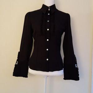 Bebe black silk button up ruffled blouse