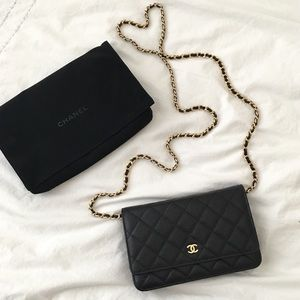 CHANEL Classic Caviar Wallet on Chain Black Gold