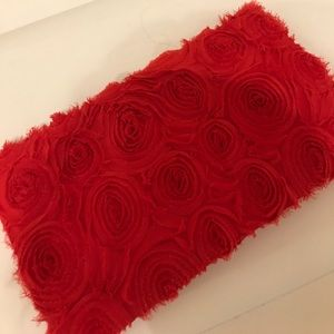 H&M red floral clutch