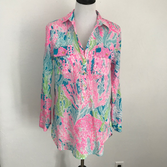 268a73d4b54897 Lilly Pulitzer Tops - {Lilly Pulitzer} Let's Cha Cha Captiva Tunic Med