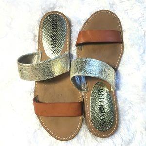 Sam & Libby brown & metallic gold strap sandals