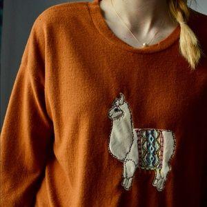 NWOT Orange Llama Sweatshirt