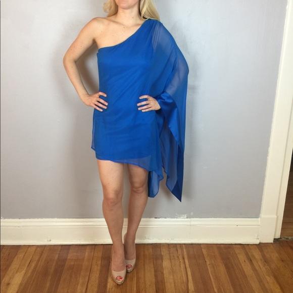 Marciano Blue One Shoulder Silk Tori Dress Small