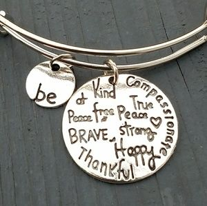 Jewelry - Be thankful, be kind charm bracelet, be brave