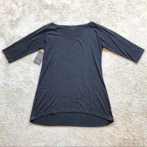 Black 3/4 Sleeves Hi Lo Top