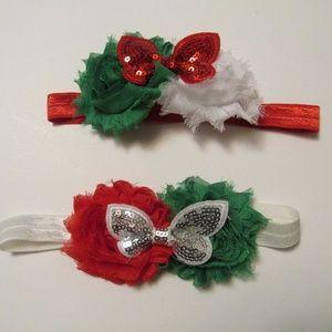 Other - Handmade Christmas Headbands Green, Red, & White