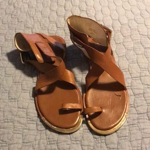 Micheal Kors brown leather sandals