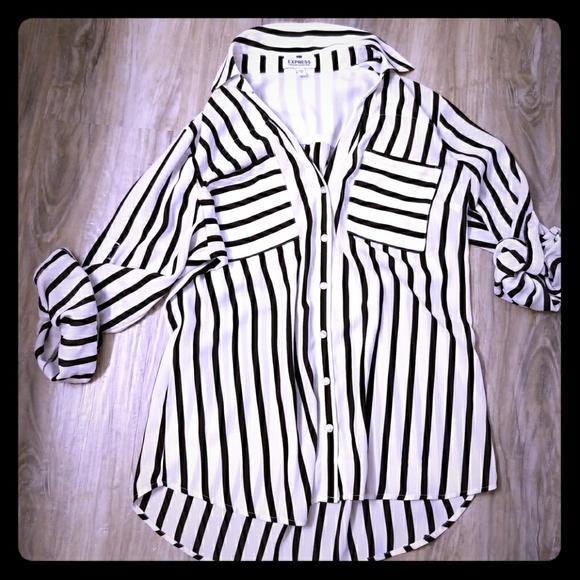 582739c0f3 Express Tops | Nwot Black White Stripe Shirt Sz M | Poshmark