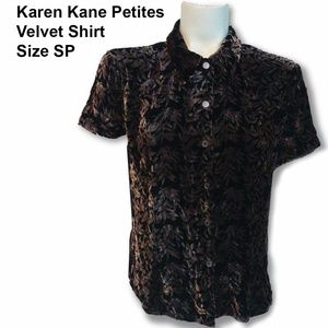 KAREN KANE - Brown & Black Velvet Shirt - Size SP
