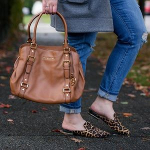 ⬇️ Michael Kors Bedford Large Satchel in Cognac
