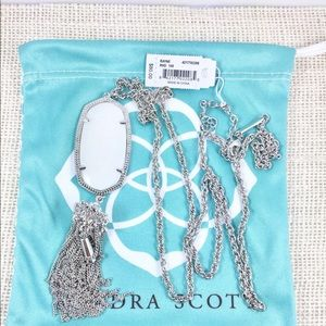 Kendra Scott Rayne white shell silver necklace