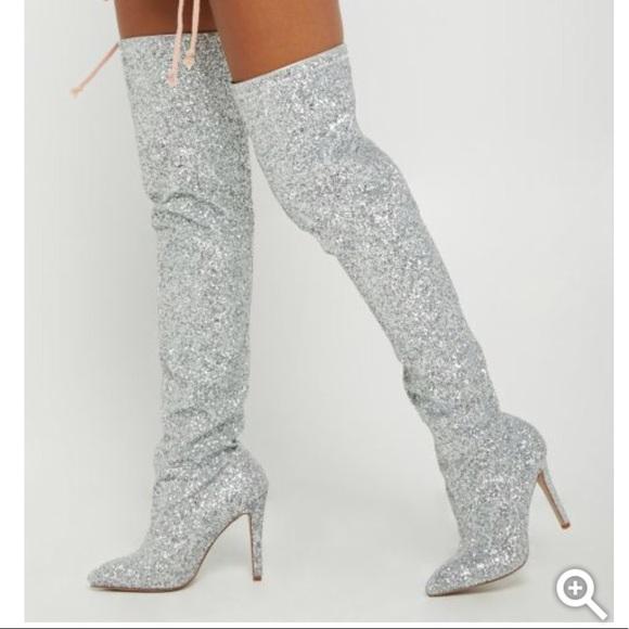Nwt Silver Glitter Thigh High Boots