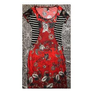 JEAN PAUL GAULTIER Soleil Mixed Print Mesh Dress L