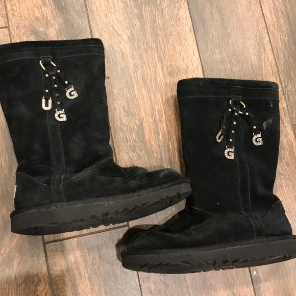 Girls black crystal UGG boots