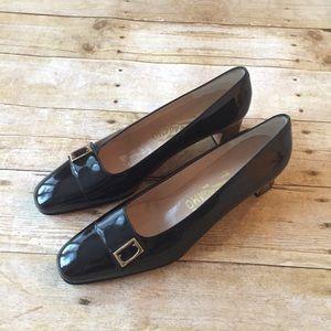 Ferragamo Black Patent Leather Heel