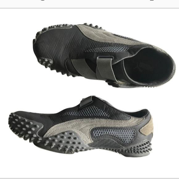 design intemporel d65f1 feff7 Puma Mostro leather running shoes Velcro gray