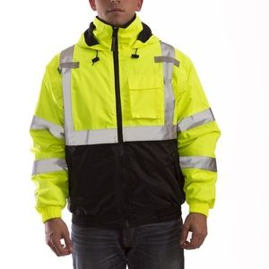 NWT Men's Fluorescent Yellow Safety Jacket