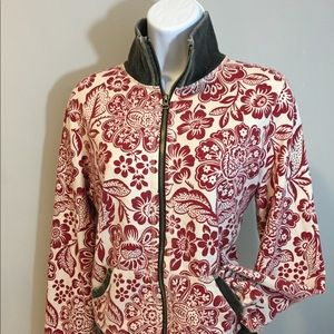 Lucky Brand Red Ivory Floral Zip Sweatshirt L