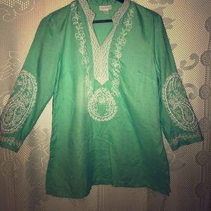 CHARTER CLUB• Mint color linen top.