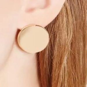 Jewelry - Stud Flat Coin Gold Statement Circle Earrings