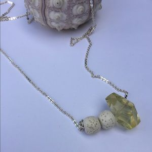 Lemon quartz lava stone bar necklace diffuser