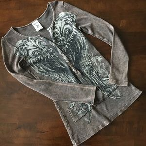Vocal Rhinestone Angel Wings Thermal Top S