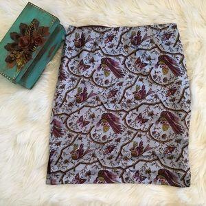 Betsey Johnson 100% Silk Skirt with Bird Design