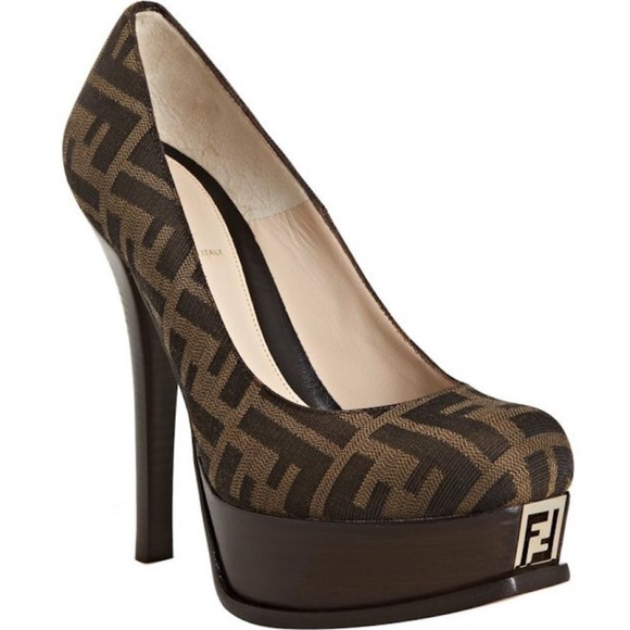 0b33cb31cdf Fendi Shoes - Fendi Fendistar Zucca Platform Pumps Brown SZ 36.5