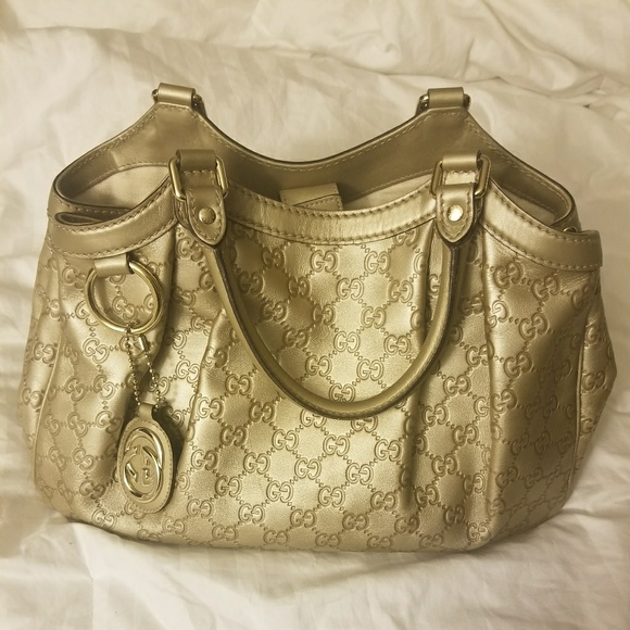 55daae32009d3 Authentic GUCCI Sukey Gold leather Hobo