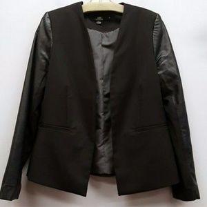 Black blazer w/faux leather sleeves