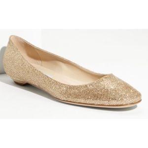 Jimmy Choo Finlay Gold Glitter Flats SZ 37.5
