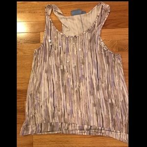Vera Wang striped tank with clear sequins