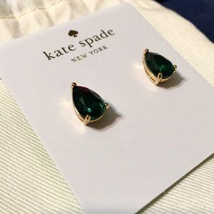 Kate Spade Emerald Teardrop Stud Earrings • NWT