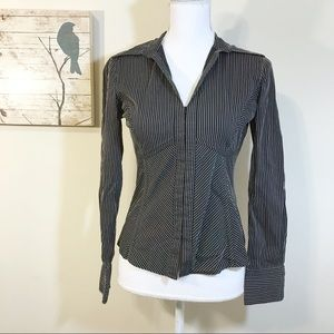 The Limited Black & Brown Striped V-neck Shirt