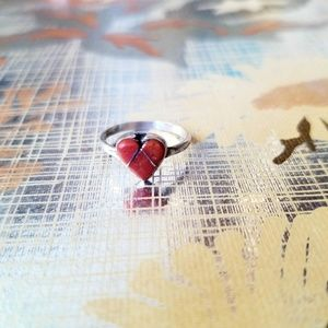 60s Vintage Coral Heart Ring